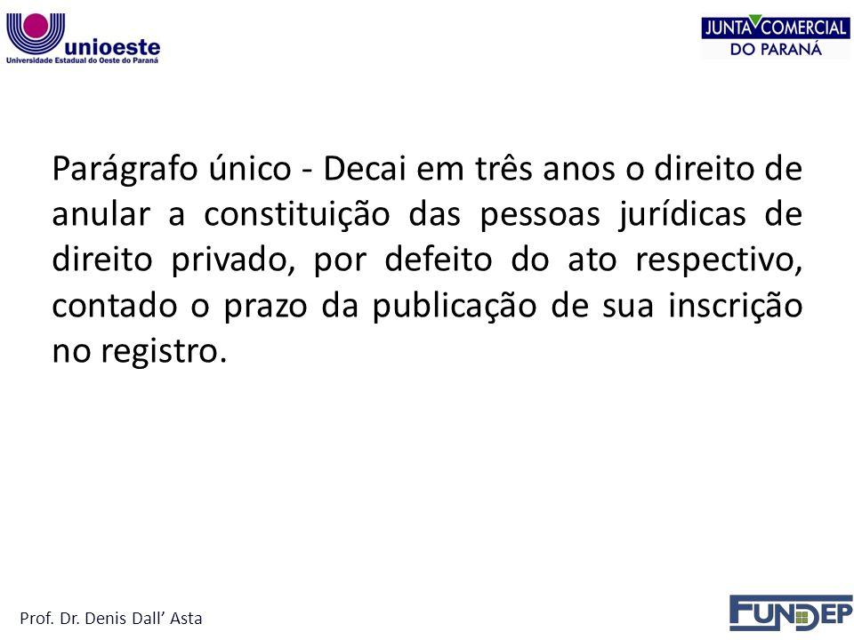 Parágrafo único - Decai em três anos o direito de anular a constituição das pessoas jurídicas de direito privado, por defeito do ato respectivo, contado o prazo da publicação de sua inscrição no registro.