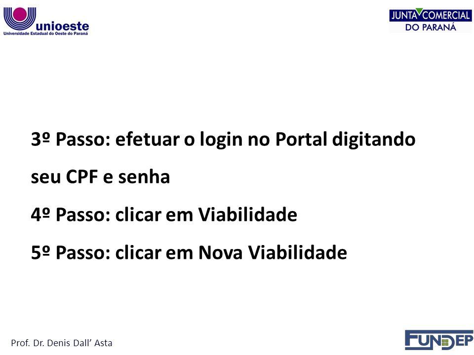 3º Passo: efetuar o login no Portal digitando seu CPF e senha 4º Passo: clicar em Viabilidade 5º Passo: clicar em Nova Viabilidade Prof.