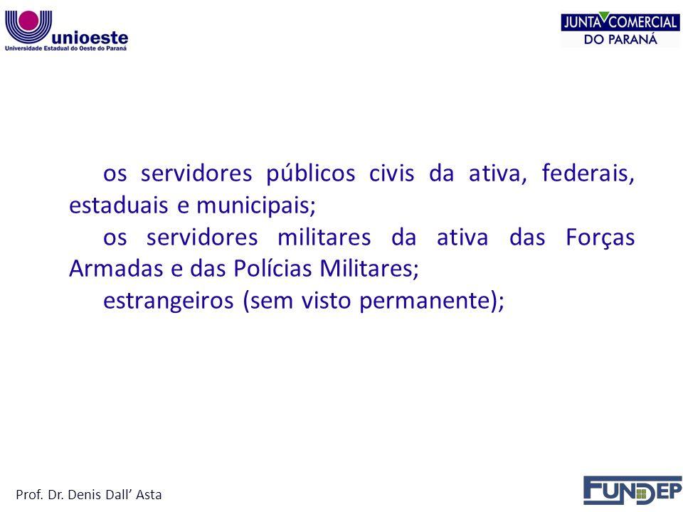 NÃO PODEM SER TITULAR os servidores públicos civis da ativa, federais, estaduais e municipais; os servidores militares da ativa das Forças Armadas e das Polícias Militares; estrangeiros (sem visto permanente); Prof.