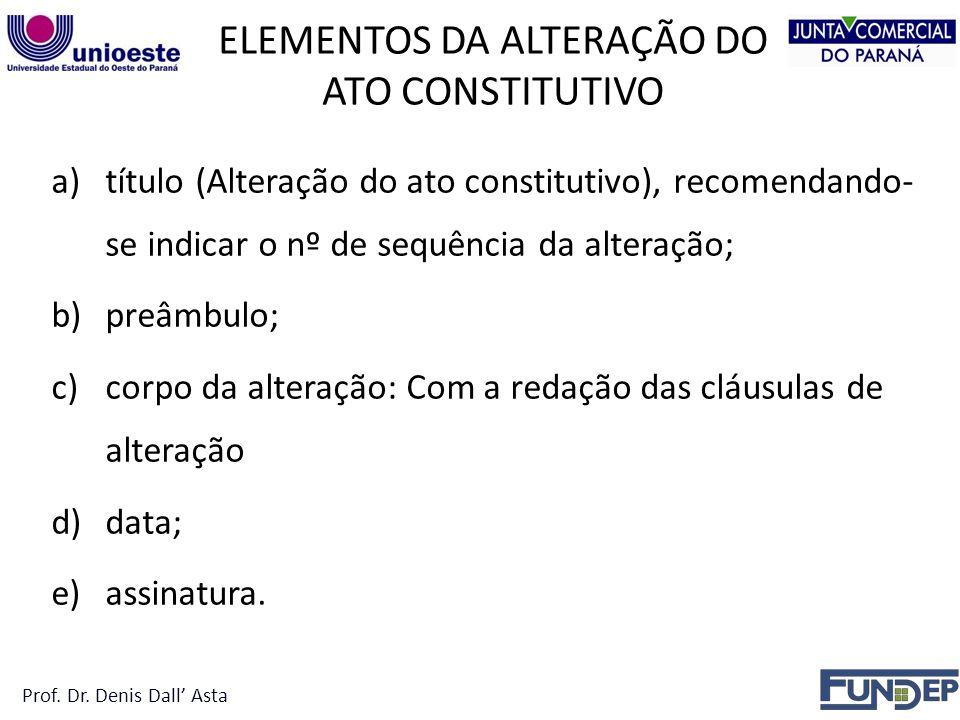 ELEMENTOS DA ALTERAÇÃO DO ATO CONSTITUTIVO a)título (Alteração do ato constitutivo), recomendando- se indicar o nº de sequência da alteração; b)preâmbulo; c)corpo da alteração: Com a redação das cláusulas de alteração d)data; e)assinatura.