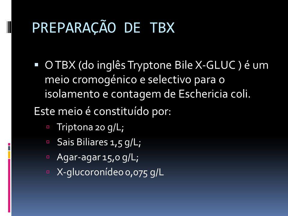PREPARAÇÃO DE TBX O TBX (do inglês Tryptone Bile X-GLUC ) é um meio cromogénico e selectivo para o isolamento e contagem de Eschericia coli. Este meio