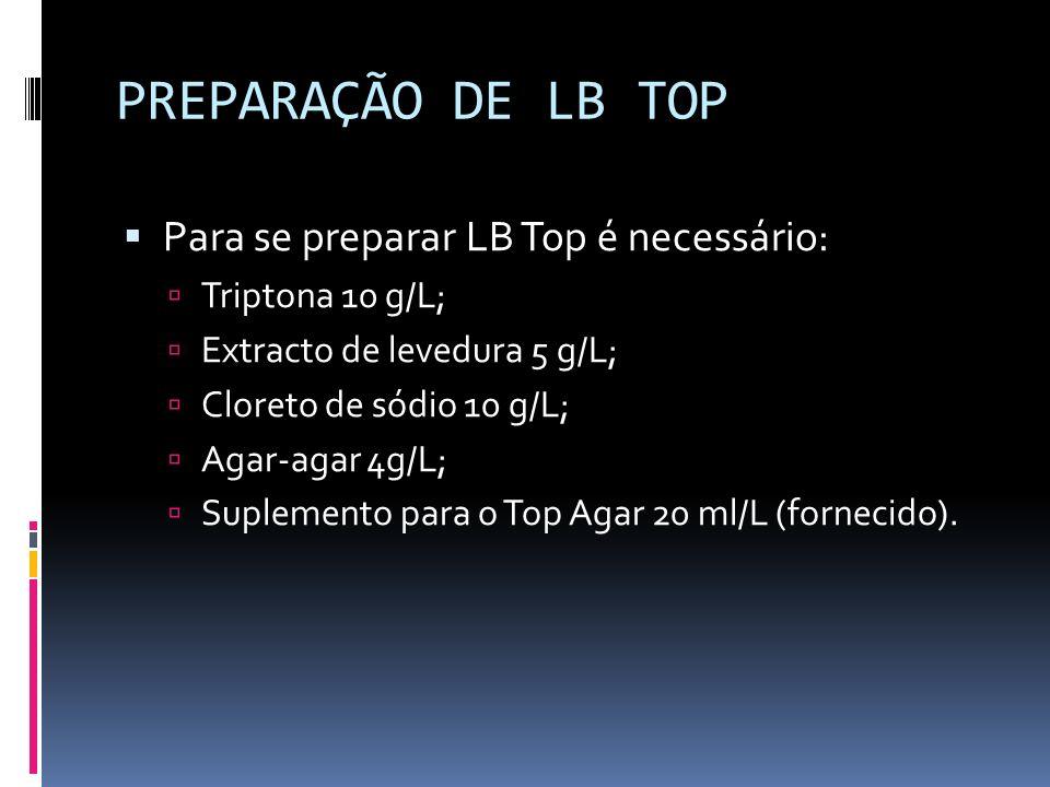PREPARAÇÃO DE LB TOP Para se preparar LB Top é necessário: Triptona 10 g/L; Extracto de levedura 5 g/L; Cloreto de sódio 10 g/L; Agar-agar 4g/L; Suple