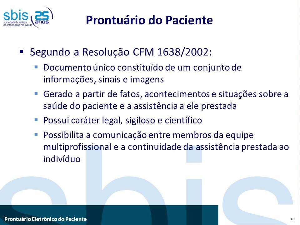 Prontuário Eletrônico do Paciente Prontuário do Paciente Segundo a Resolução CFM 1638/2002: Documento único constituído de um conjunto de informações,