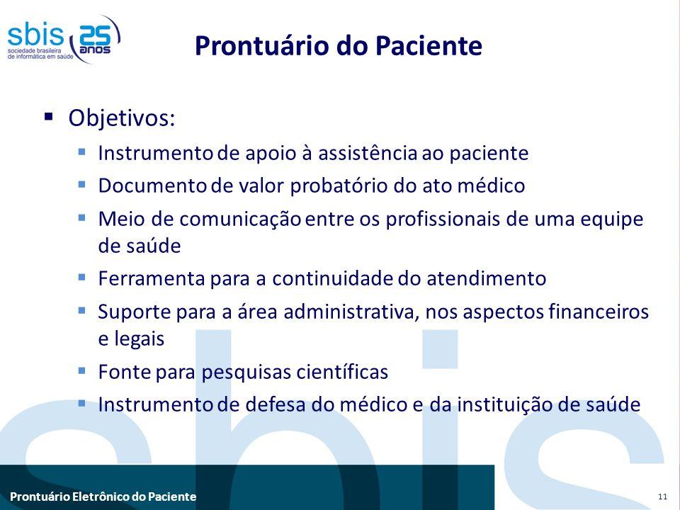 Prontuário Eletrônico do Paciente Prontuário do Paciente Objetivos: Instrumento de apoio à assistência ao paciente Documento de valor probatório do at
