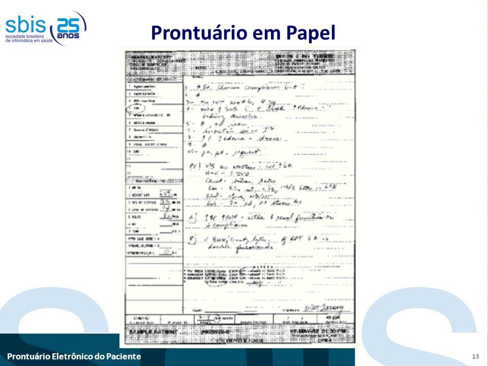 Prontuário Eletrônico do Paciente Prontuário em Papel 13
