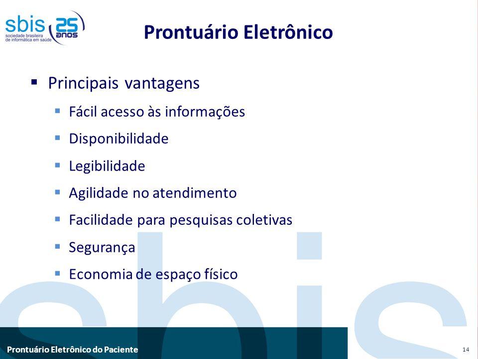 Prontuário Eletrônico do Paciente Prontuário Eletrônico Principais vantagens Fácil acesso às informações Disponibilidade Legibilidade Agilidade no ate