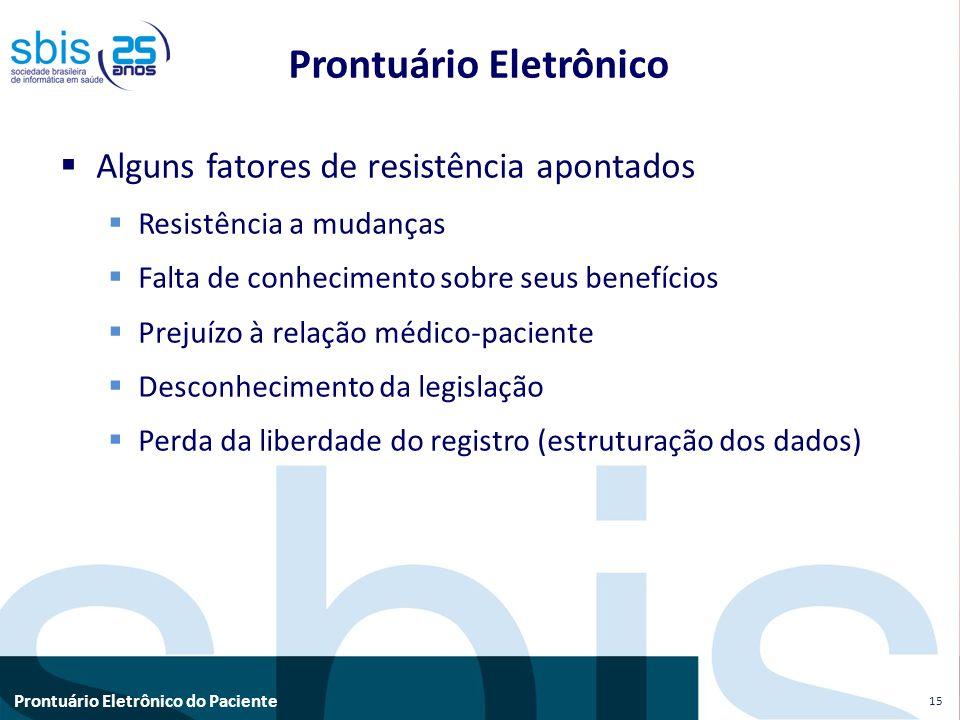Prontuário Eletrônico do Paciente Prontuário Eletrônico Alguns fatores de resistência apontados Resistência a mudanças Falta de conhecimento sobre seu