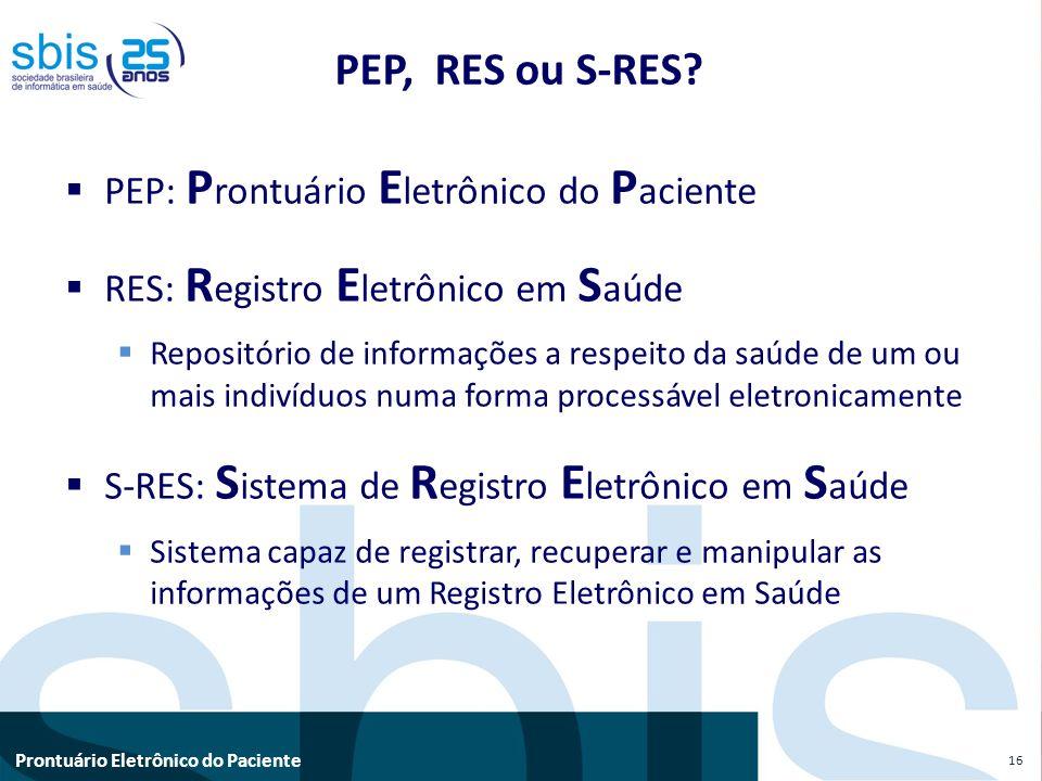 Prontuário Eletrônico do Paciente PEP, RES ou S-RES? PEP: P rontuário E letrônico do P aciente RES: R egistro E letrônico em S aúde Repositório de inf