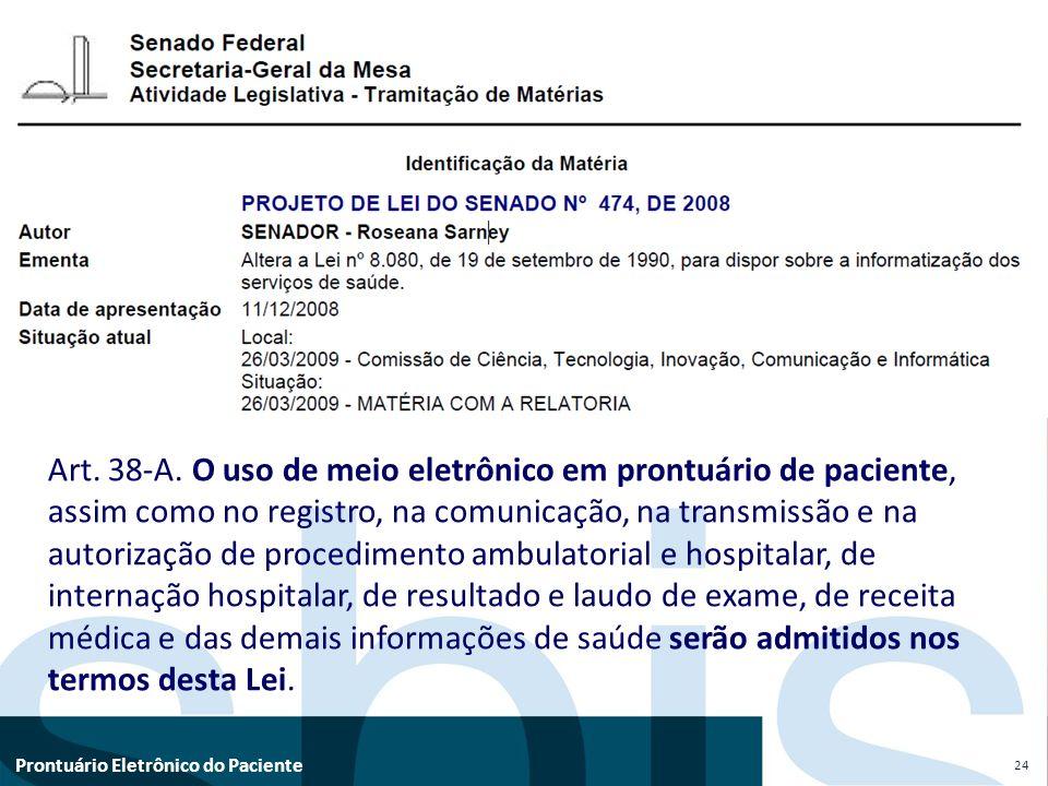 Prontuário Eletrônico do Paciente 24 Art. 38-A. O uso de meio eletrônico em prontuário de paciente, assim como no registro, na comunicação, na transmi