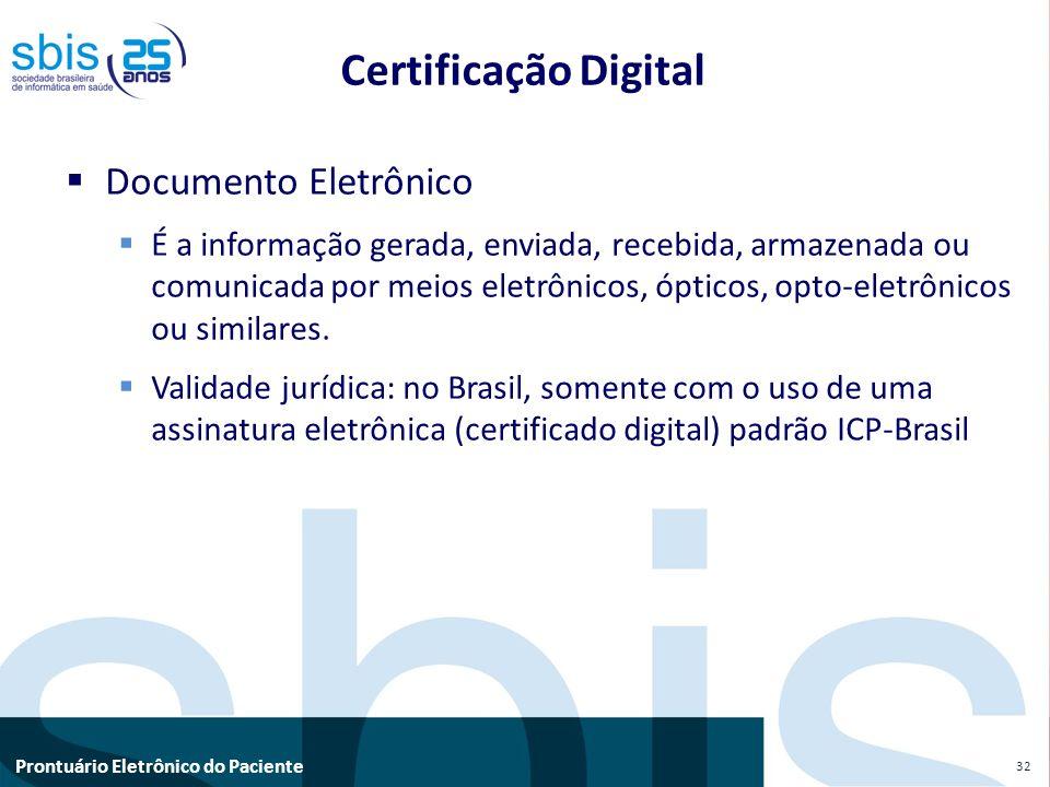 Prontuário Eletrônico do Paciente Certificação Digital Documento Eletrônico É a informação gerada, enviada, recebida, armazenada ou comunicada por mei