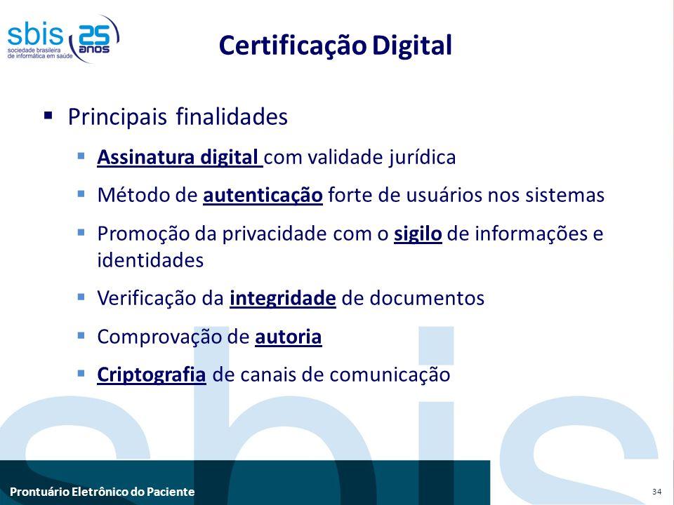 Prontuário Eletrônico do Paciente Principais finalidades Assinatura digital com validade jurídica Método de autenticação forte de usuários nos sistema