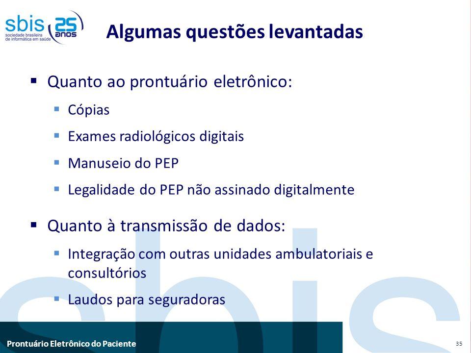 Prontuário Eletrônico do Paciente Quanto ao prontuário eletrônico: Cópias Exames radiológicos digitais Manuseio do PEP Legalidade do PEP não assinado