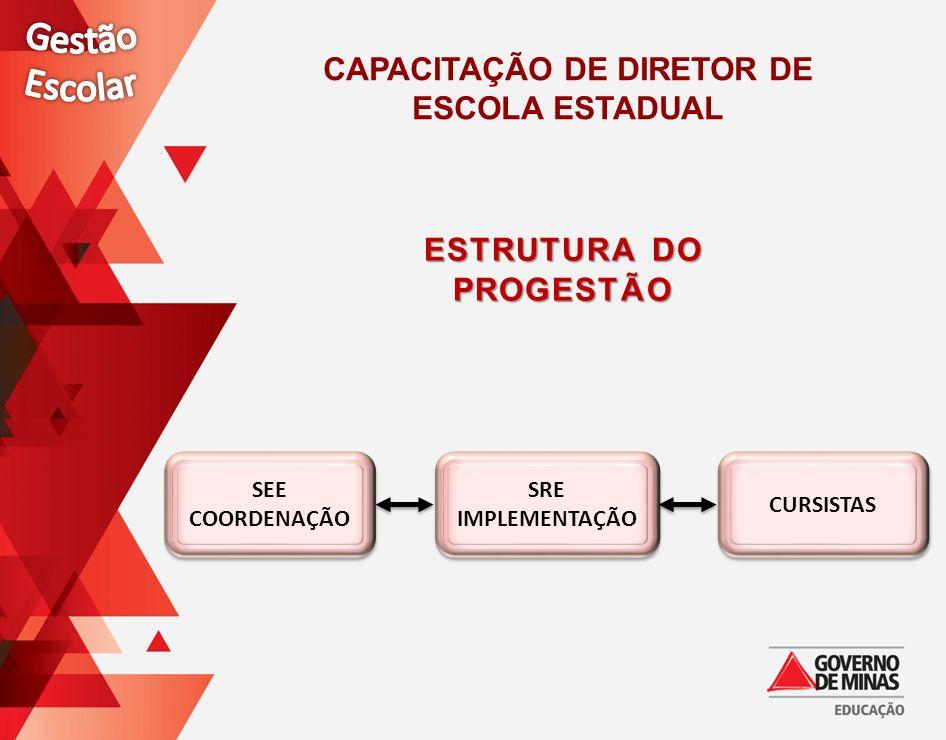 ESTRUTURA DO PROGESTÃO SEE COORDENAÇÃO SRE IMPLEMENTAÇÃO CURSISTAS CAPACITAÇÃO DE DIRETOR DE ESCOLA ESTADUAL