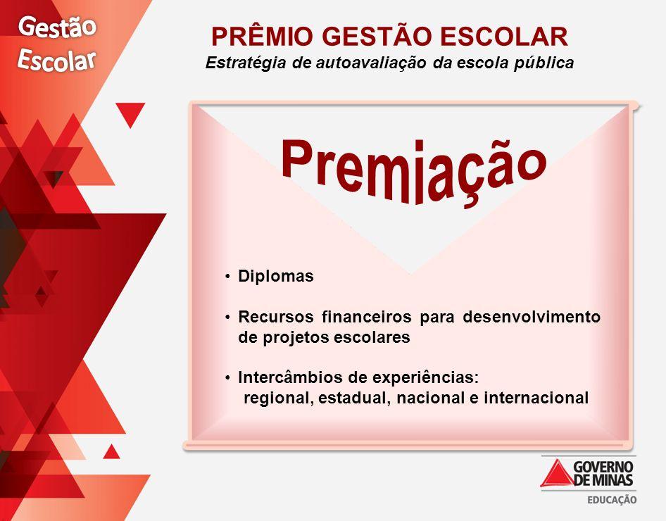 Diplomas Recursos financeiros para desenvolvimento de projetos escolares Intercâmbios de experiências: regional, estadual, nacional e internacional PR