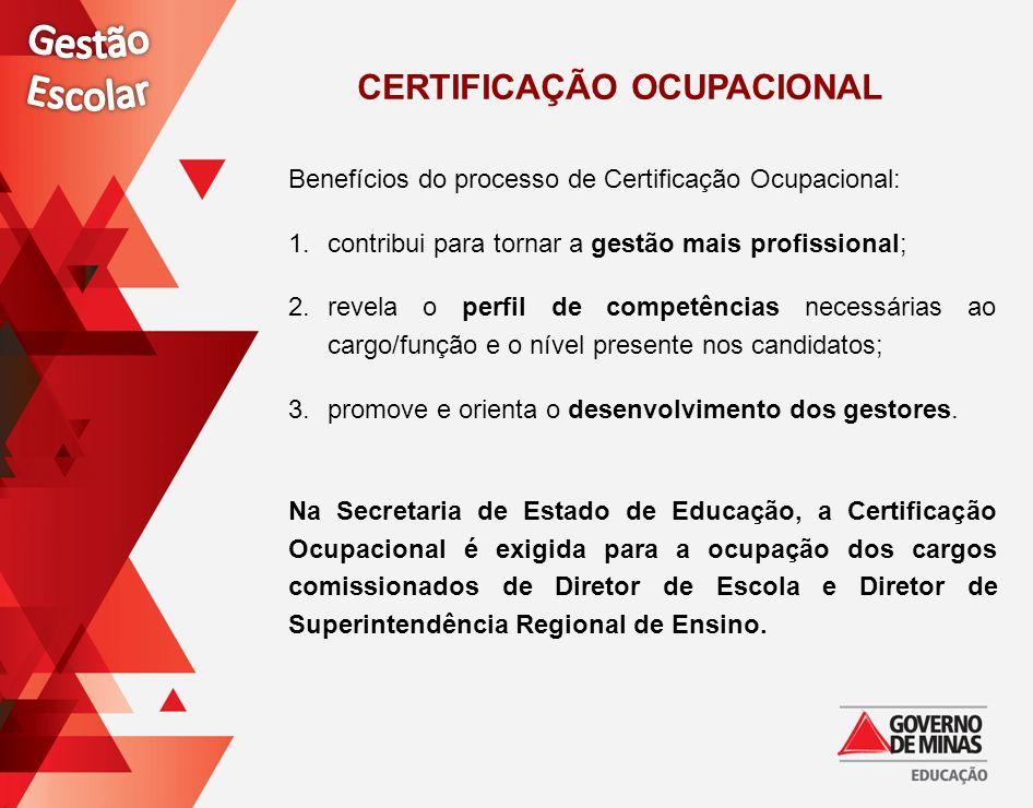 CERTIFICAÇÃO OCUPACIONAL Benefícios do processo de Certificação Ocupacional: 1.contribui para tornar a gestão mais profissional; 2.revela o perfil de