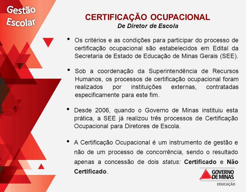 Os critérios e as condições para participar do processo de certificação ocupacional são estabelecidos em Edital da Secretaria de Estado de Educação de