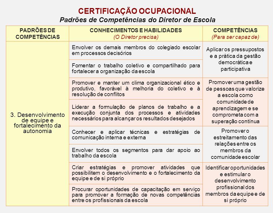 PADRÕES DE COMPETÊNCIAS CONHECIMENTOS E HABILIDADES (O Diretor precisa) COMPETÊNCIAS (Para ser capaz de) 3. Desenvolvimento de equipe e fortalecimento