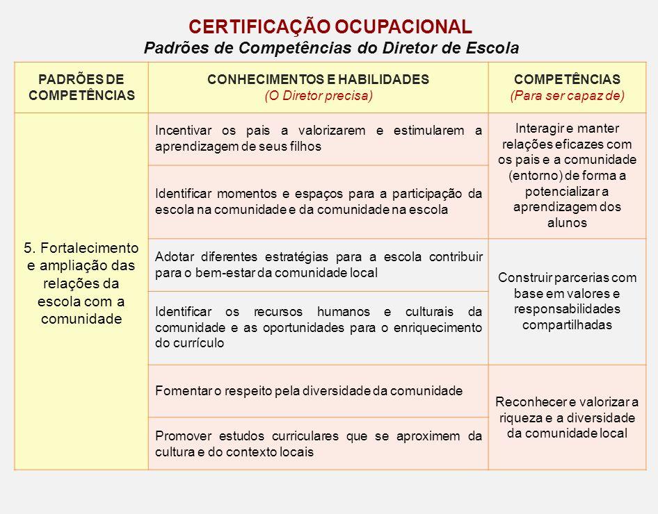 CERTIFICAÇÃO OCUPACIONAL Padrões de Competências do Diretor de Escola PADRÕES DE COMPETÊNCIAS CONHECIMENTOS E HABILIDADES (O Diretor precisa) COMPETÊN