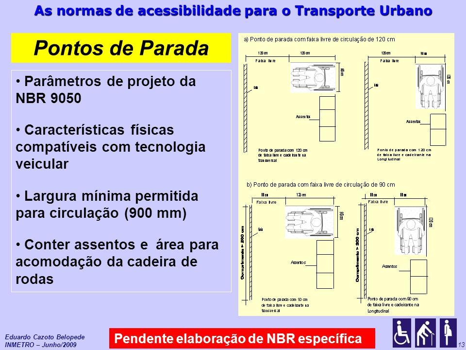 As normas de acessibilidade para o Transporte Urbano 13 Pontos de Parada Pendente elaboração de NBR específica Eduardo Cazoto Belopede INMETRO – Junho
