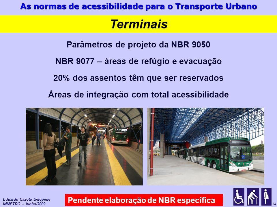 As normas de acessibilidade para o Transporte Urbano 14 Terminais Pendente elaboração de NBR específica Eduardo Cazoto Belopede INMETRO – Junho/2009 P