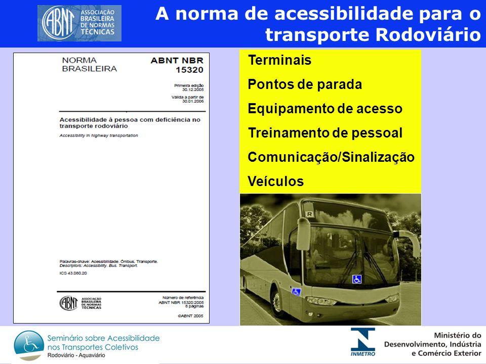 As normas de acessibilidade para o Transporte Urbano 2 A norma de acessibilidade para o transporte Rodoviário Terminais Pontos de parada Equipamento d