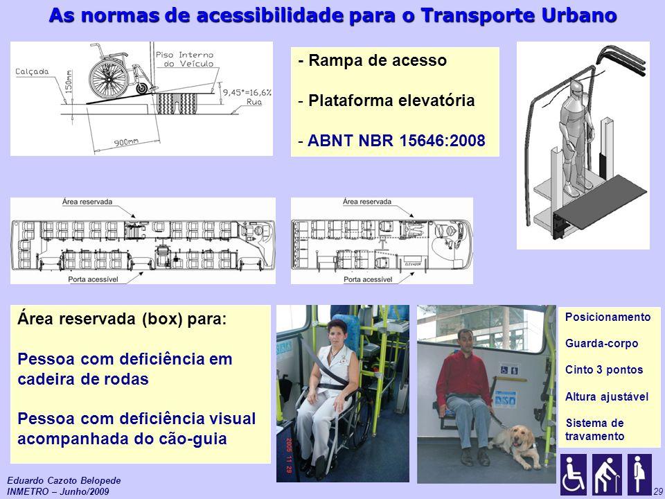 As normas de acessibilidade para o Transporte Urbano 29 - Rampa de acesso - Plataforma elevatória - ABNT NBR 15646:2008 Área reservada (box) para: Pes