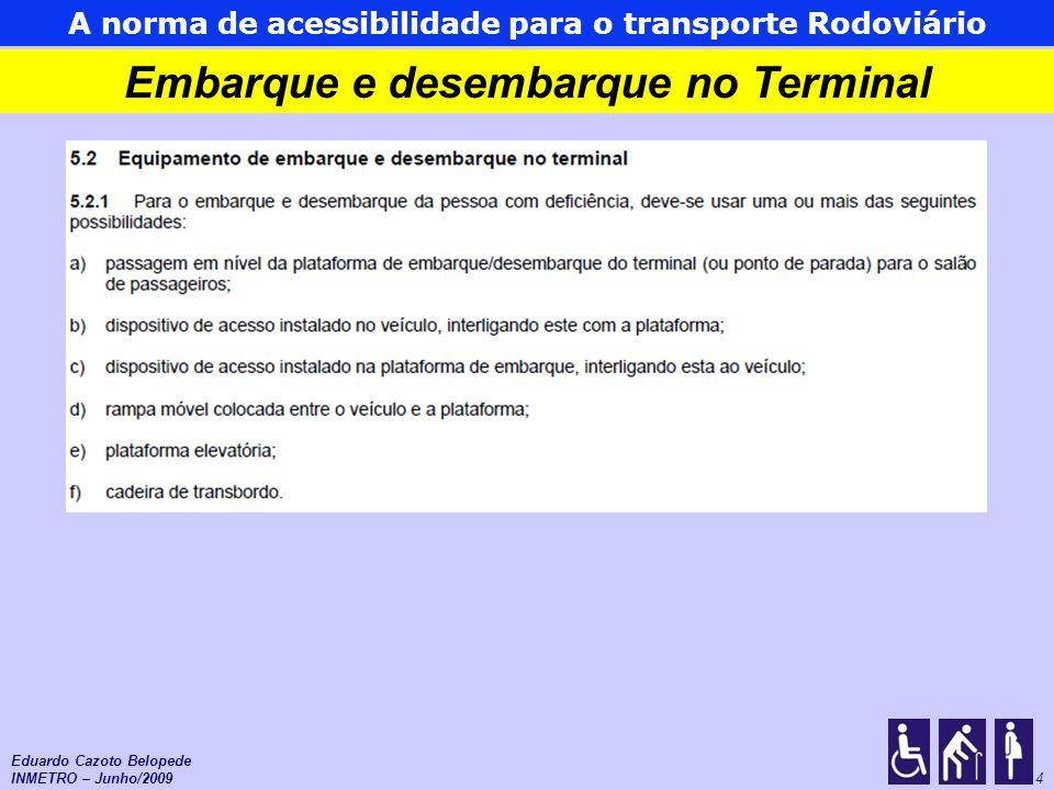As normas de acessibilidade para o Transporte Urbano 15 Comunicação e sinalização Piso tátil de alerta no início dos pontos e em toda extensão das plataformas de embarque Eduardo Cazoto Belopede INMETRO – Junho/2009
