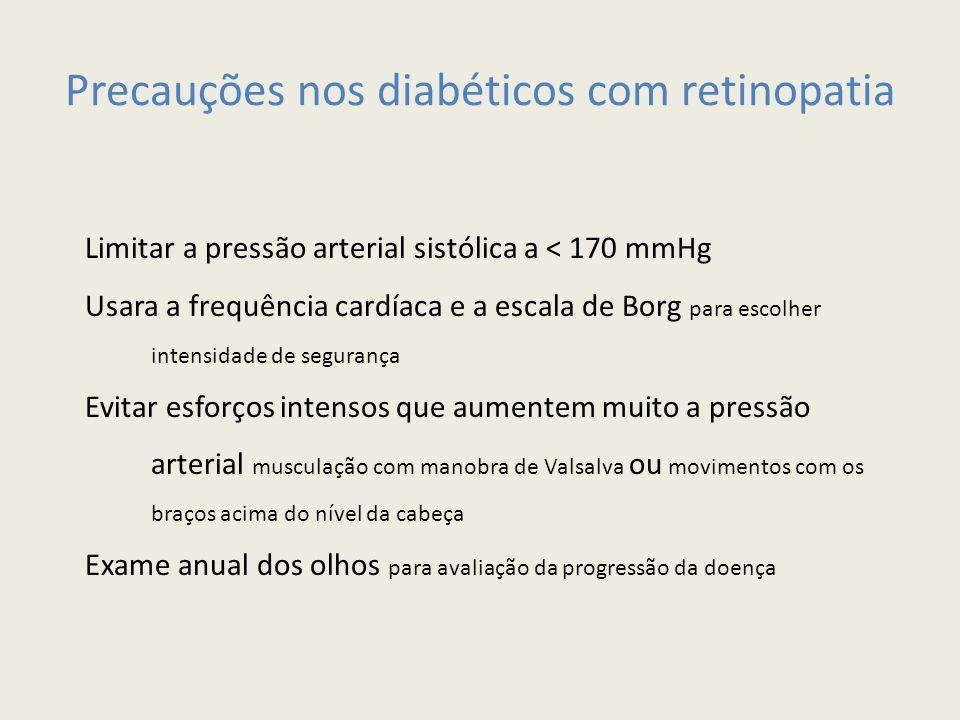 Precauções nos diabéticos com retinopatia Limitar a pressão arterial sistólica a < 170 mmHg Usara a frequência cardíaca e a escala de Borg para escolh