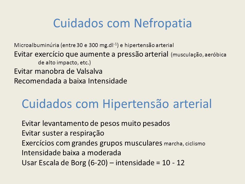 Cuidados com Nefropatia Microalbuminúria (entre 30 e 300 mg.dl -1 ) e hipertensão arterial Evitar exercício que aumente a pressão arterial (musculação