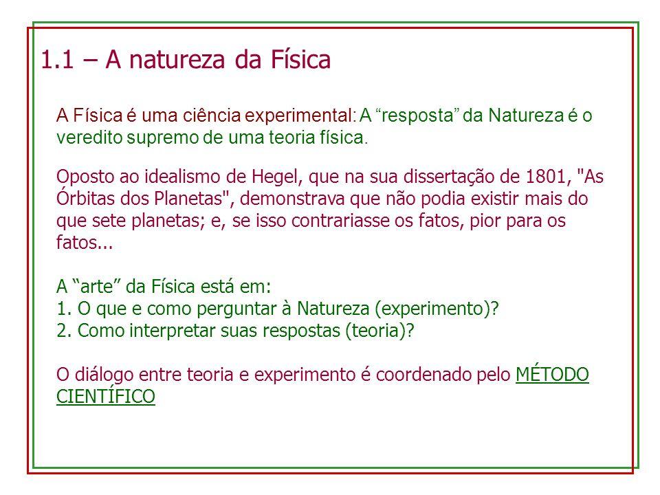 1.1 – A natureza da Física A Física é uma ciência experimental: A resposta da Natureza é o veredito supremo de uma teoria física. Oposto ao idealismo