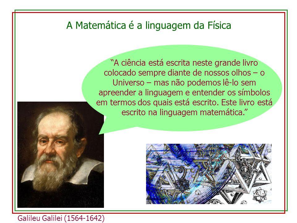 A Matemática é a linguagem da Física Galileu Galilei (1564-1642) A ciência está escrita neste grande livro colocado sempre diante de nossos olhos – o