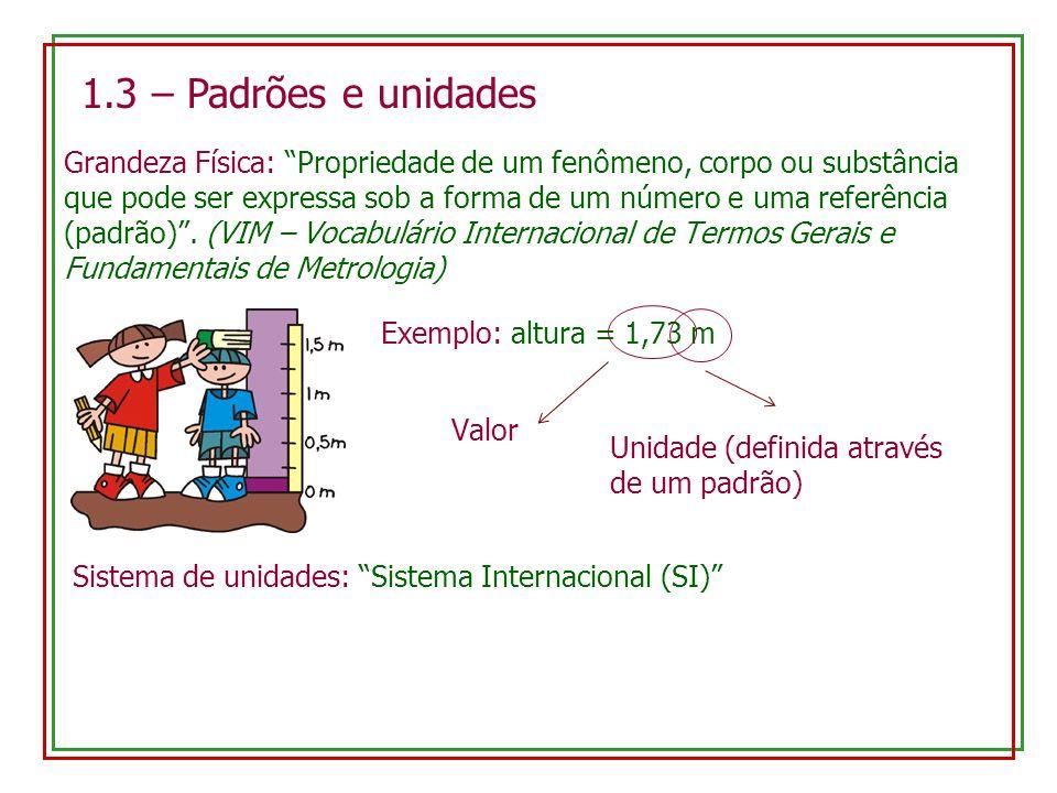 1.3 – Padrões e unidades Grandeza Física: Propriedade de um fenômeno, corpo ou substância que pode ser expressa sob a forma de um número e uma referên