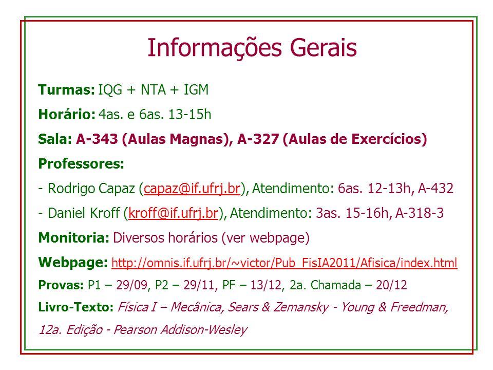 Turmas: IQG + NTA + IGM Horário: 4as. e 6as. 13-15h Sala: A-343 (Aulas Magnas), A-327 (Aulas de Exercícios) Professores: -Rodrigo Capaz (capaz@if.ufrj