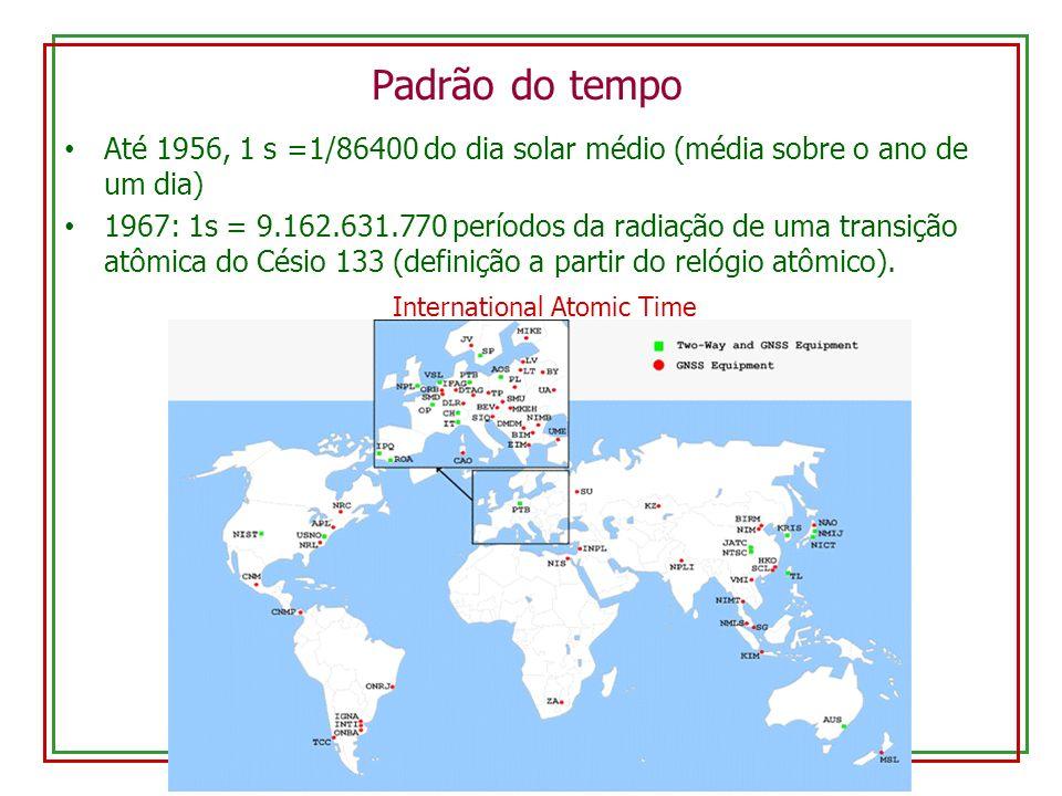 Padrão do tempo Até 1956, 1 s =1/86400 do dia solar médio (média sobre o ano de um dia) 1967: 1s = 9.162.631.770 períodos da radiação de uma transição
