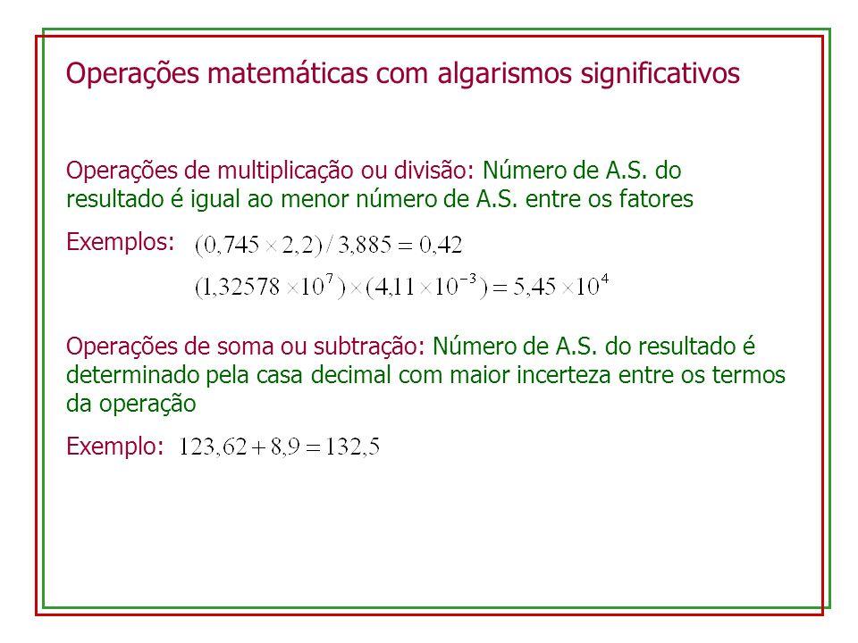 Operações matemáticas com algarismos significativos Operações de multiplicação ou divisão: Número de A.S. do resultado é igual ao menor número de A.S.