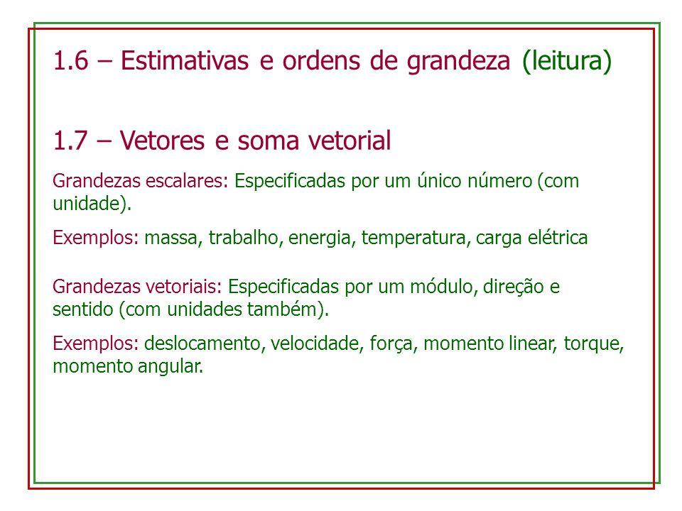 1.6 – Estimativas e ordens de grandeza (leitura) 1.7 – Vetores e soma vetorial Grandezas escalares: Especificadas por um único número (com unidade). E
