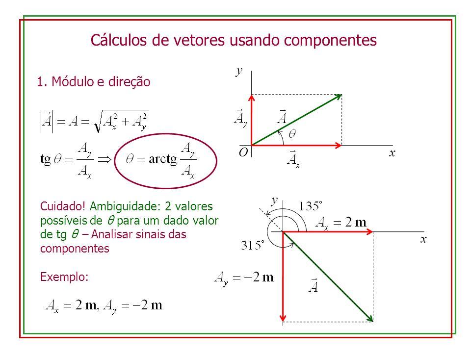 Cálculos de vetores usando componentes Cuidado! Ambiguidade: 2 valores possíveis de θ para um dado valor de tg θ – Analisar sinais das componentes Exe