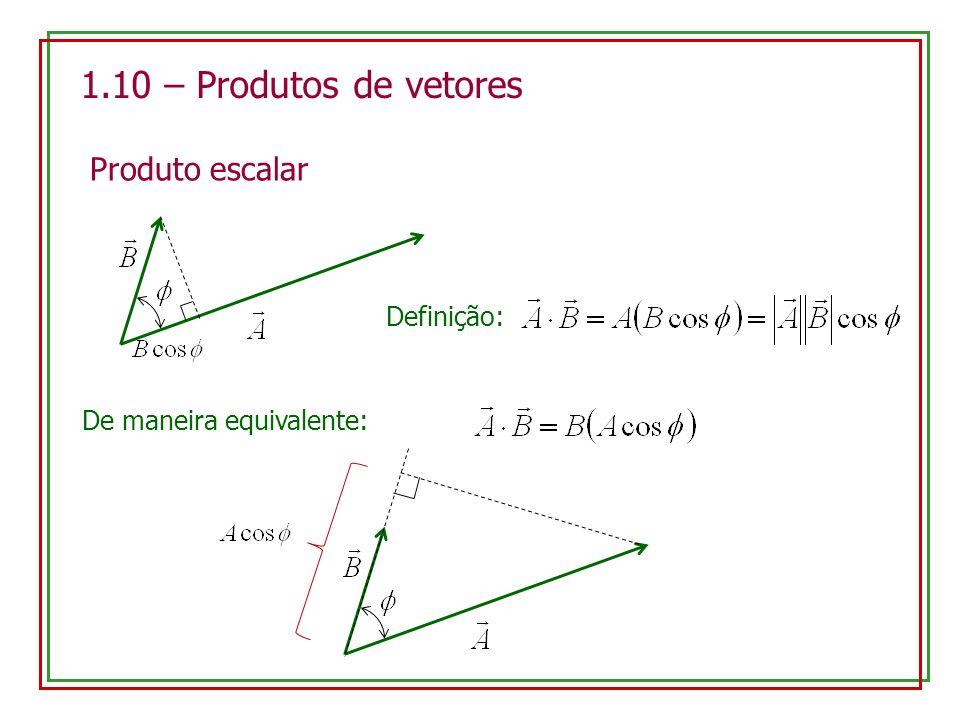 1.10 – Produtos de vetores Produto escalar Definição: De maneira equivalente: