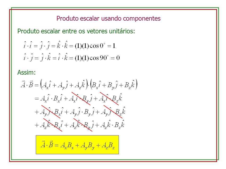 Produto escalar usando componentes Produto escalar entre os vetores unitários: Assim: