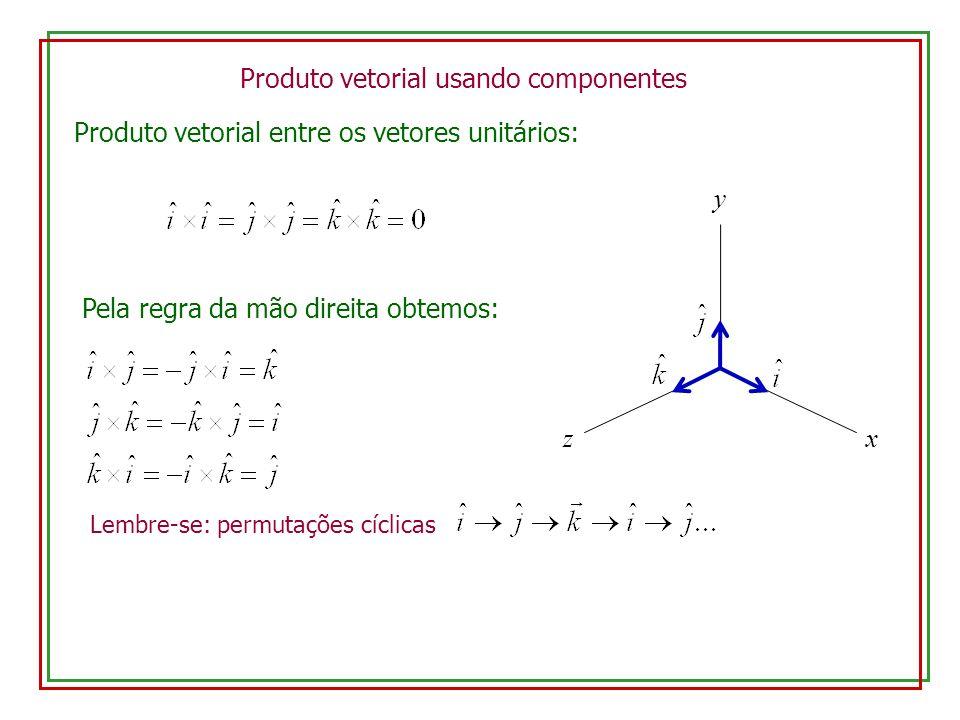 Produto vetorial usando componentes Produto vetorial entre os vetores unitários: Lembre-se: permutações cíclicas Pela regra da mão direita obtemos: x