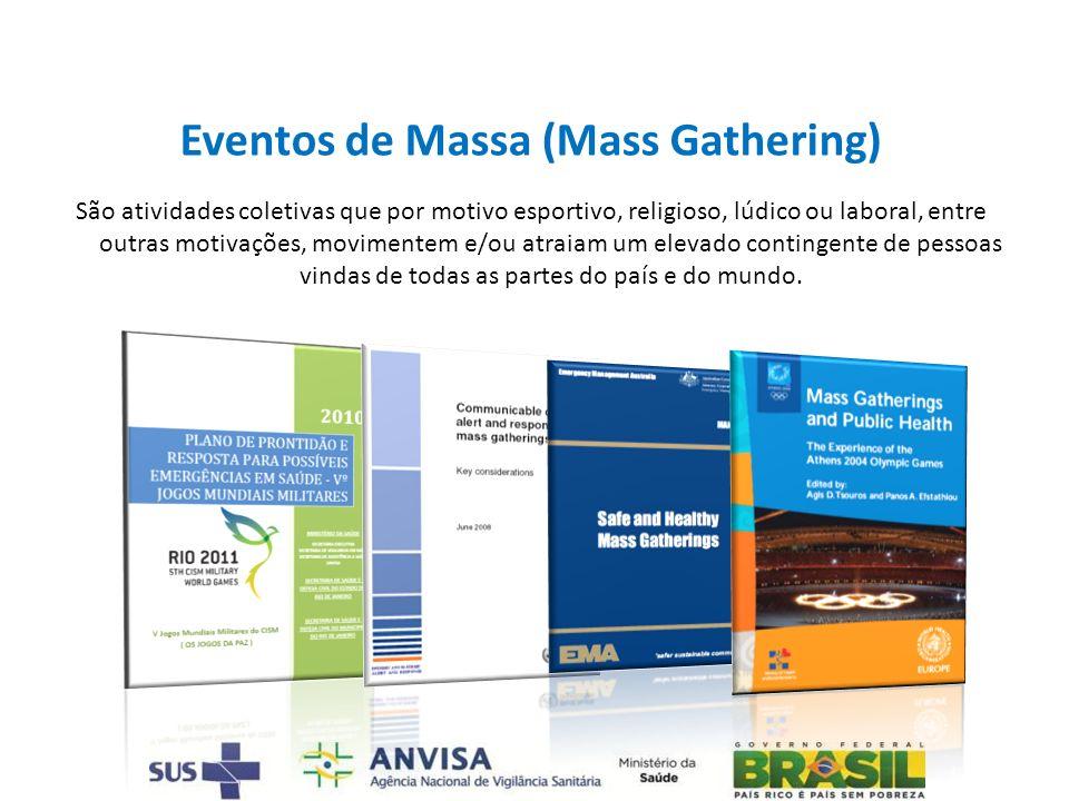 Eventos de Massa (Mass Gathering) São atividades coletivas que por motivo esportivo, religioso, lúdico ou laboral, entre outras motivações, movimentem