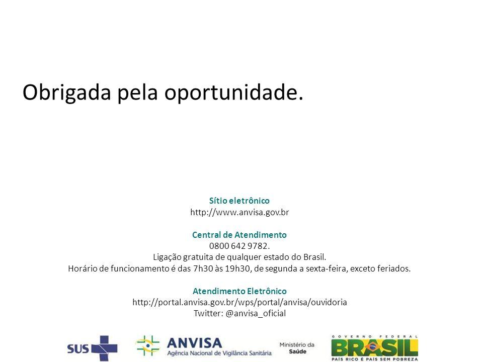 Sítio eletrônico http://www.anvisa.gov.br Central de Atendimento 0800 642 9782. Ligação gratuita de qualquer estado do Brasil. Horário de funcionament