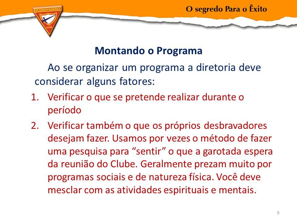 Montando o Programa Ao se organizar um programa a diretoria deve considerar alguns fatores: 1.Verificar o que se pretende realizar durante o período 2