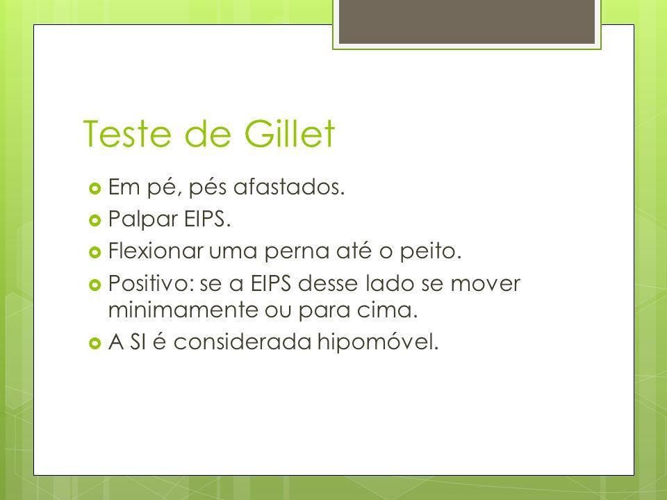 Teste de Gillet Em pé, pés afastados. Palpar EIPS. Flexionar uma perna até o peito. Positivo: se a EIPS desse lado se mover minimamente ou para cima.
