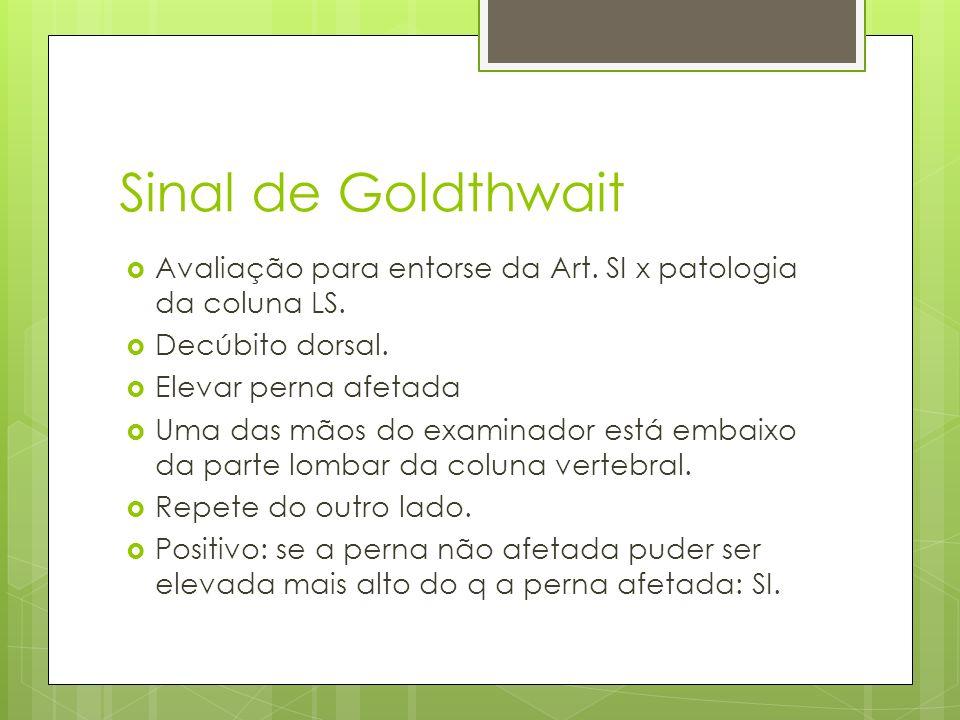 Sinal de Goldthwait Avaliação para entorse da Art. SI x patologia da coluna LS. Decúbito dorsal. Elevar perna afetada Uma das mãos do examinador está
