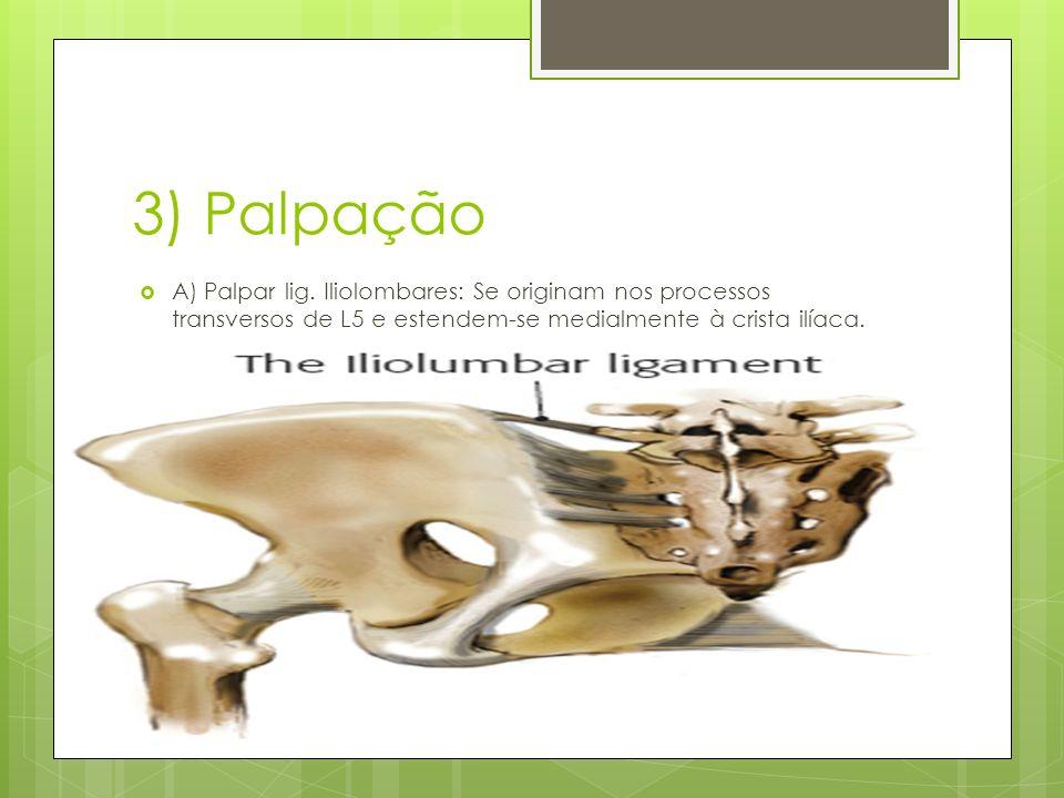 Palpação B) Palpar sacro e articulações sacro-ilíacas: Os lig.