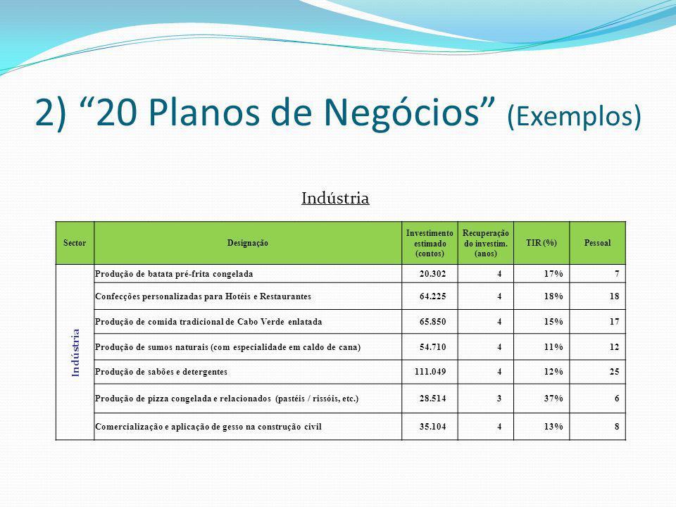 2) 20 Planos de Negócios (Exemplos) Indústria SectorDesignação Investimento estimado (contos) Recuperação do investim. (anos) TIR (%)Pessoal Indústria
