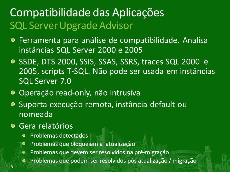25 Compatibilidade das Aplicações SQL Server Upgrade Advisor Ferramenta para análise de compatibilidade.