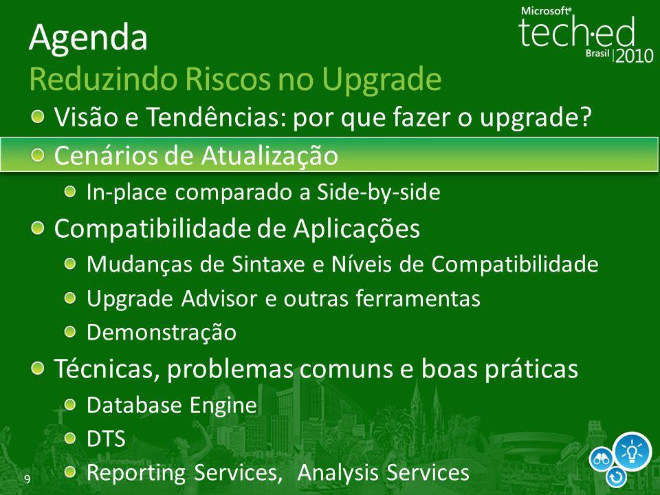 9 Agenda Reduzindo Riscos no Upgrade Visão e Tendências: por que fazer o upgrade.