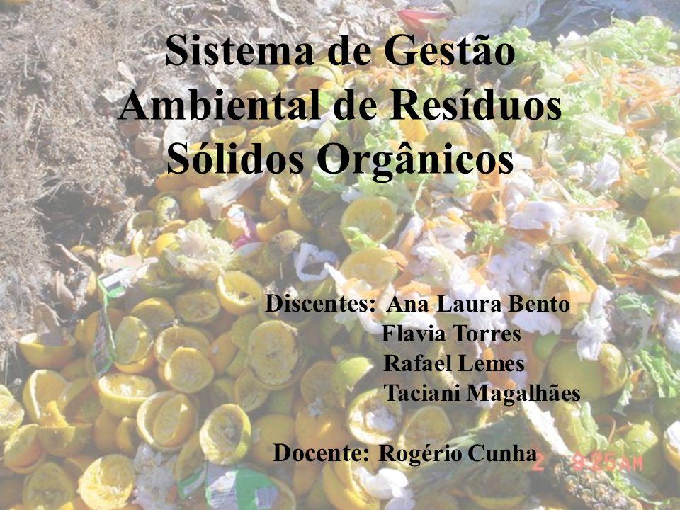 Sistema de Gestão Ambiental de Resíduos Sólidos Orgânicos Discentes: Ana Laura Bento Flavia Torres Rafael Lemes Taciani Magalhães Docente: Rogério Cun